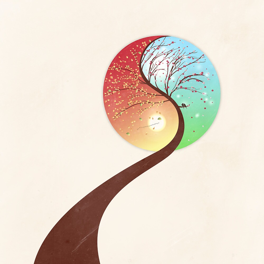 Yin-Yang Tree: Autumn-Spring by Paula Belle Flores