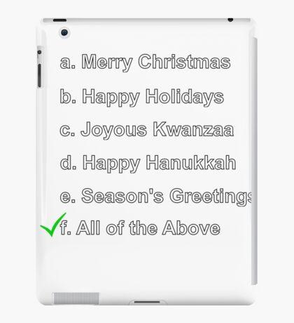 Merry Christmas Happy Holidays Seasons Greetings Hanukkah Kwanzaa iPad Case/Skin