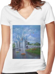 Castle of Dreams Women's Fitted V-Neck T-Shirt