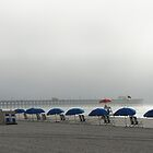 Blue umbrellas at Apache Pier by yakkphat
