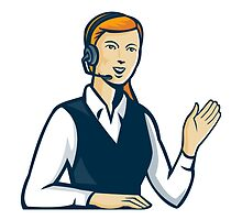 Telemarketer Call Center Operator Retro by retrovectors