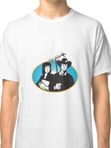 cowboy and girl holding aerial outdoor antennae  Classic T-Shirt