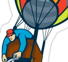 Man Cutting Ballast Hot Air Balloon  Sticker