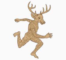 Half Man Half Deer With Tattoos Running   T-Shirt