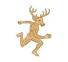 Half Man Half Deer With Tattoos Running   by retrovectors