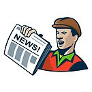 Newsboy Newspaper Delivery Retro  by retrovectors