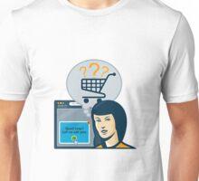 Female Internet Shopper Shopping Cart Unisex T-Shirt