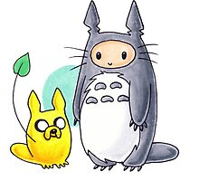 Totoro Finn and Jake by Jes Martin