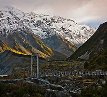 Swinging bridge Hooker Valley Aoraki/Mt. Cook National Park New Zealand by fotosic