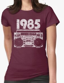 1985 Boombox Distressed Graphic Womens Fitted T-Shirt