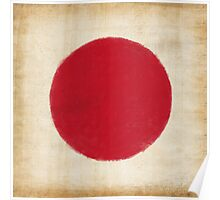 Japan flag painting in vintage style Poster