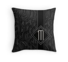 1920s Jazz Deco Swing Monogram black & silver letter M Throw Pillow