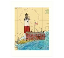 Montauk Lighthouse NY Nautical Chart Cathy Peek Art Print