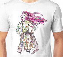 Girl with her face on her sleeves. Unisex T-Shirt