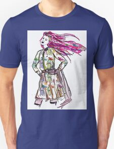 Girl with her face on her sleeves. T-Shirt
