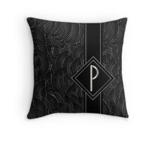1920s Jazz Deco Swing Monogram black & silver letter P Throw Pillow