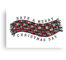 Knitting crochet scarf Merry Christmas Day Canvas Print