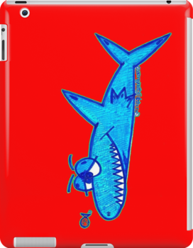Sharky On Red (iPad Case) by Sammy Nuttall