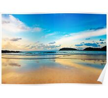 dramatic scene of sunset on the beach Poster