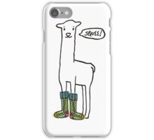 Doodle squee llama knitting crochet socks Christmas iPhone Case/Skin