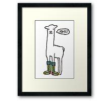 Doodle squee llama knitting crochet socks Christmas Framed Print