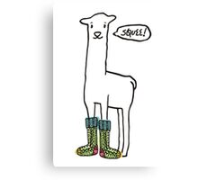 Doodle squee llama knitting crochet socks Christmas Canvas Print