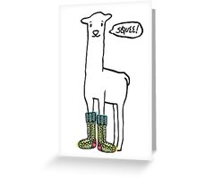 Doodle squee llama knitting crochet socks Christmas Greeting Card