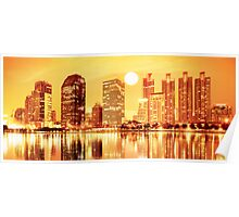 sunset panorama scenes of city Poster