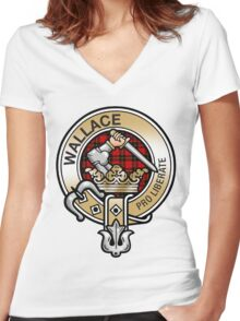 Wallace Clan Crest Women's Fitted V-Neck T-Shirt
