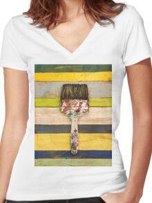 BRUSH CITRUS Women's Fitted V-Neck T-Shirt