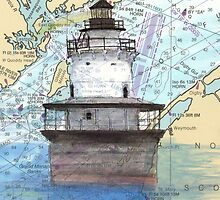 Lubec Channel Lighthouse ME Nautical Chart Cathy Peek by Cathy Peek