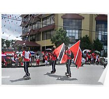 Roller Skaters Carrying The Flag Poster