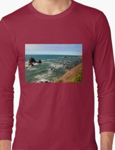 Mendocino Rocks original painting Long Sleeve T-Shirt