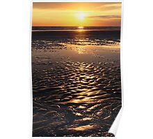 sunset on sand beach Poster
