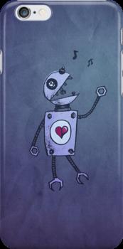 Happy Singing Robot iPhone Case by Boriana Giormova