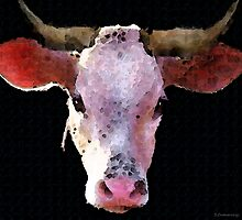 Cow Art - Crazy Girl by Sharon Cummings