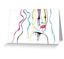Woman Paint Drips Portrait Greeting Card