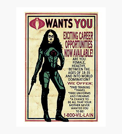 Cobra Recruiting poster Featuring the Baroness (G.I. Joe) Photographic Print