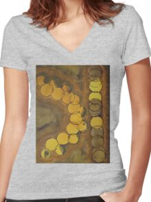 Cafe Life original painting Women's Fitted V-Neck T-Shirt