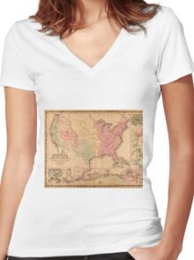 Johnson's New Illustrated Military United States Map (1862) Women's Fitted V-Neck T-Shirt