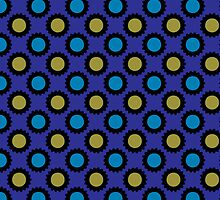 Retro blue and yellow circles pattern by nadil