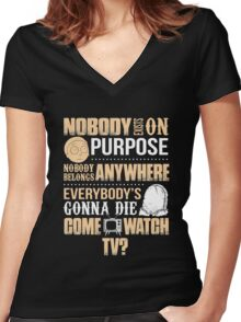 NOBODY EXISTS ON PURPOSE Women's Fitted V-Neck T-Shirt
