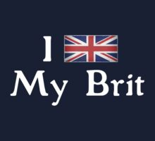 I <3 My Brit (white text) One Piece - Short Sleeve