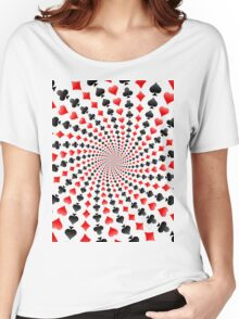 Poker / Blackjack Card Suits Spiral Women's Relaxed Fit T-Shirt
