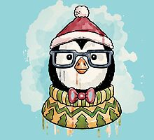 Watercolor christmas penguin by LexyLady