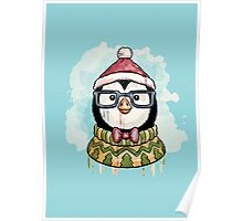 Watercolor christmas penguin Poster