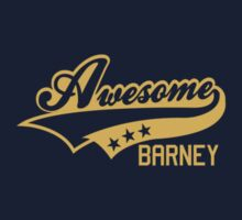 AWESOME BARNEY (yellow type) Kids Clothes
