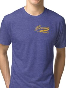 AWESOME BARNEY (yellow type) Tri-blend T-Shirt