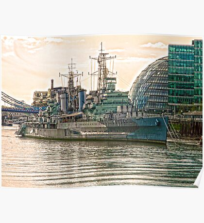 HMS Belfast in HDR Poster