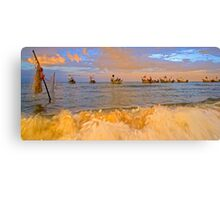 Fishing boat docking Canvas Print
